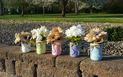 Set of 5 Painted Mason Jars. Home Decor. Country,  Vintage.